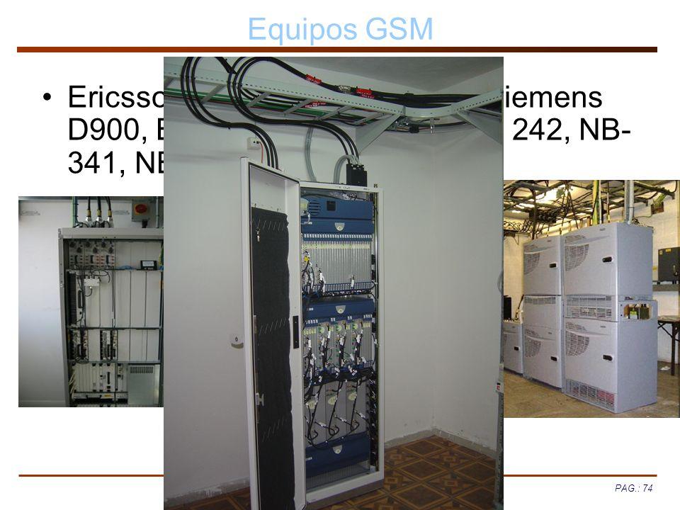 Equipos GSM Ericsson RBS 884, RBS 2000, Siemens D900, BS 40/41, BS240/241, BS 242, NB-341, NB-440/441.