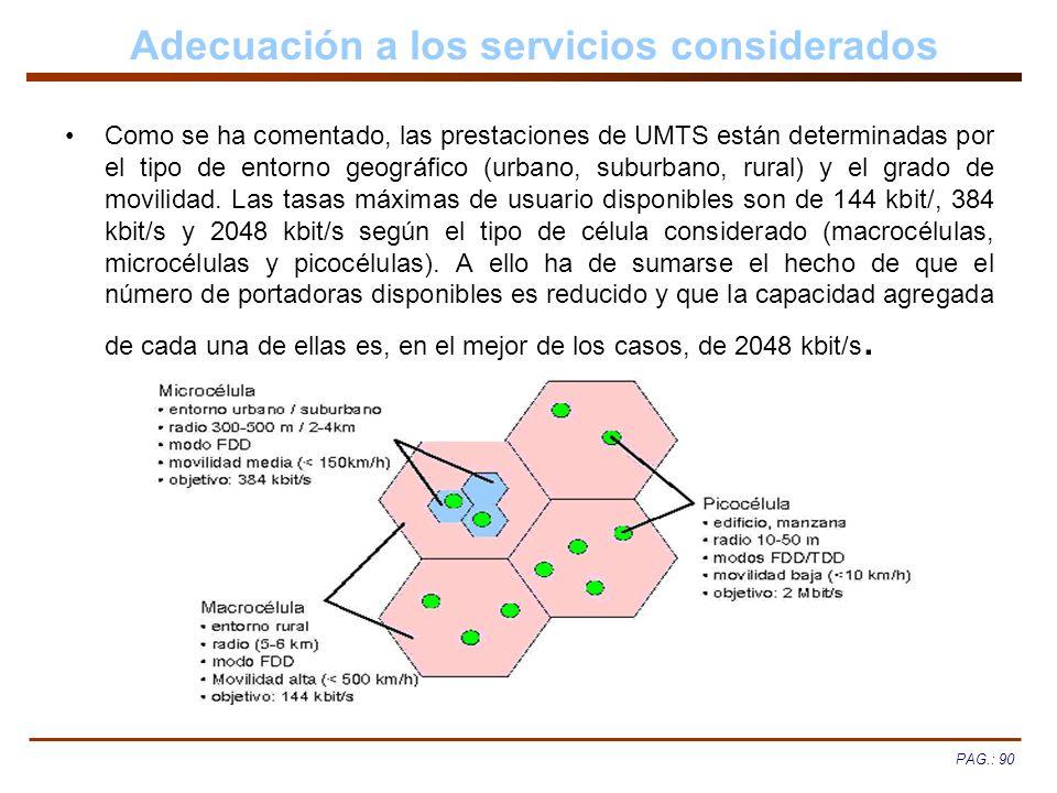 Adecuación a los servicios considerados