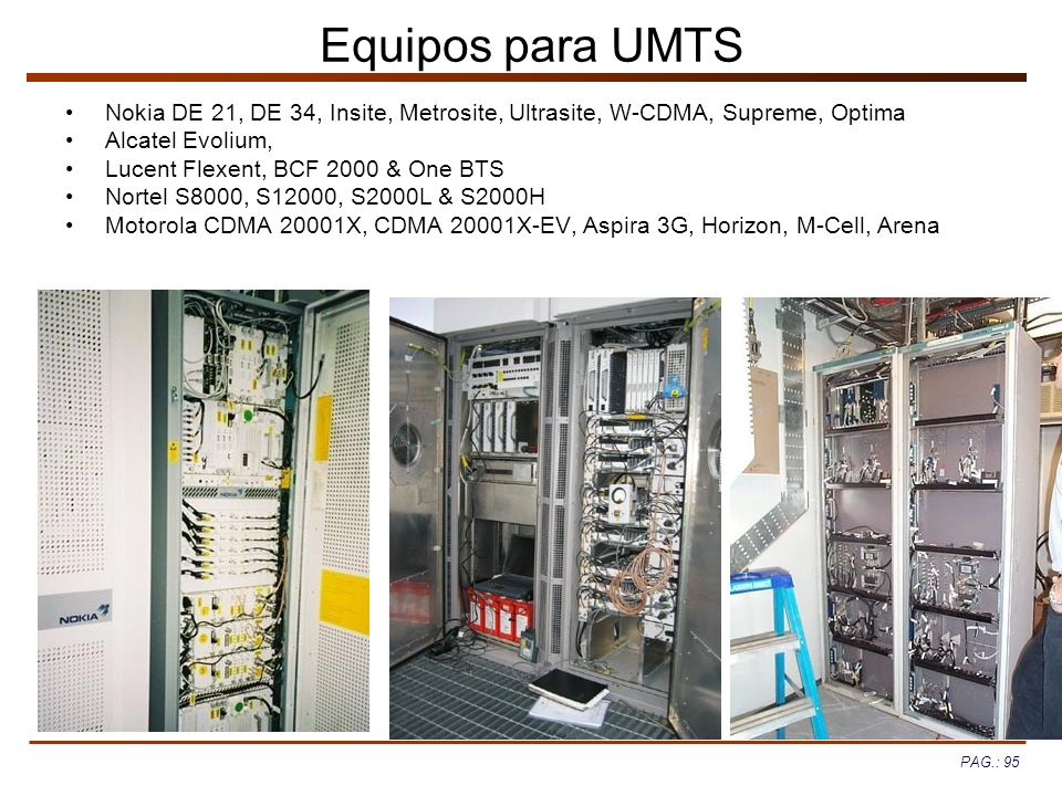 Equipos para UMTS Nokia DE 21, DE 34, Insite, Metrosite, Ultrasite, W-CDMA, Supreme, Optima. Alcatel Evolium,