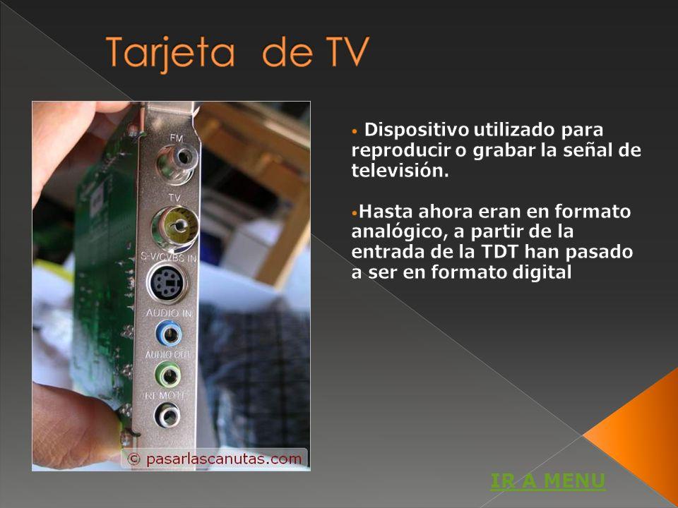 Tarjeta de TV Dispositivo utilizado para reproducir o grabar la señal de televisión.
