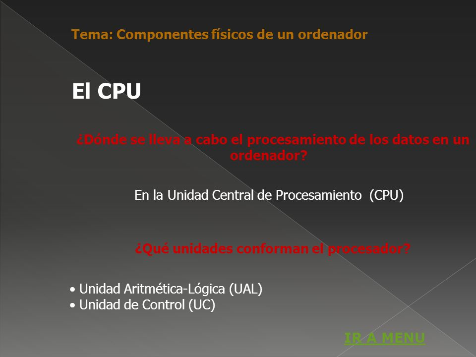 El CPU Tema: Componentes físicos de un ordenador