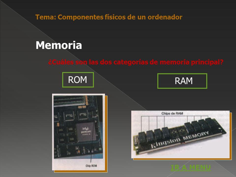 ¿Cuáles son las dos categorías de memoria principal