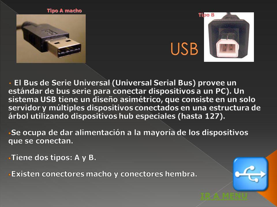 Tipo A macho Tipo B. USB.