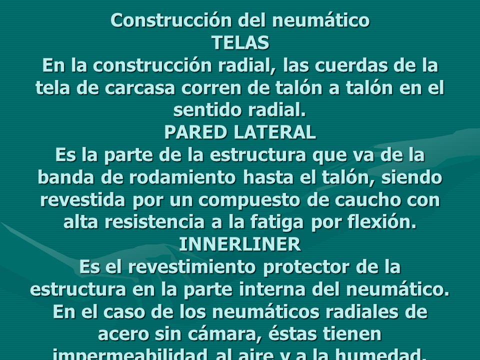 Construcción del neumático TELAS En la construcción radial, las cuerdas de la tela de carcasa corren de talón a talón en el sentido radial.
