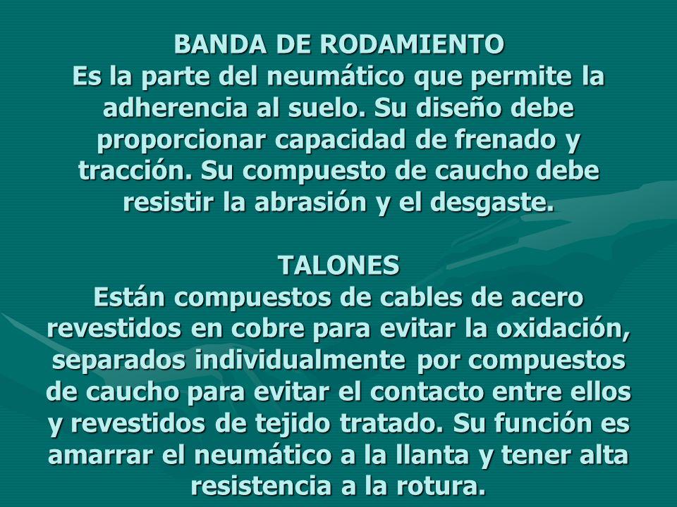 BANDA DE RODAMIENTO Es la parte del neumático que permite la adherencia al suelo.