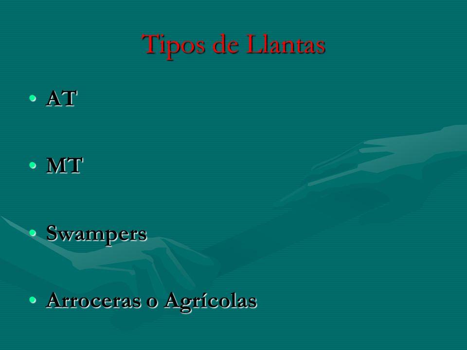 Tipos de Llantas AT MT Swampers Arroceras o Agrícolas