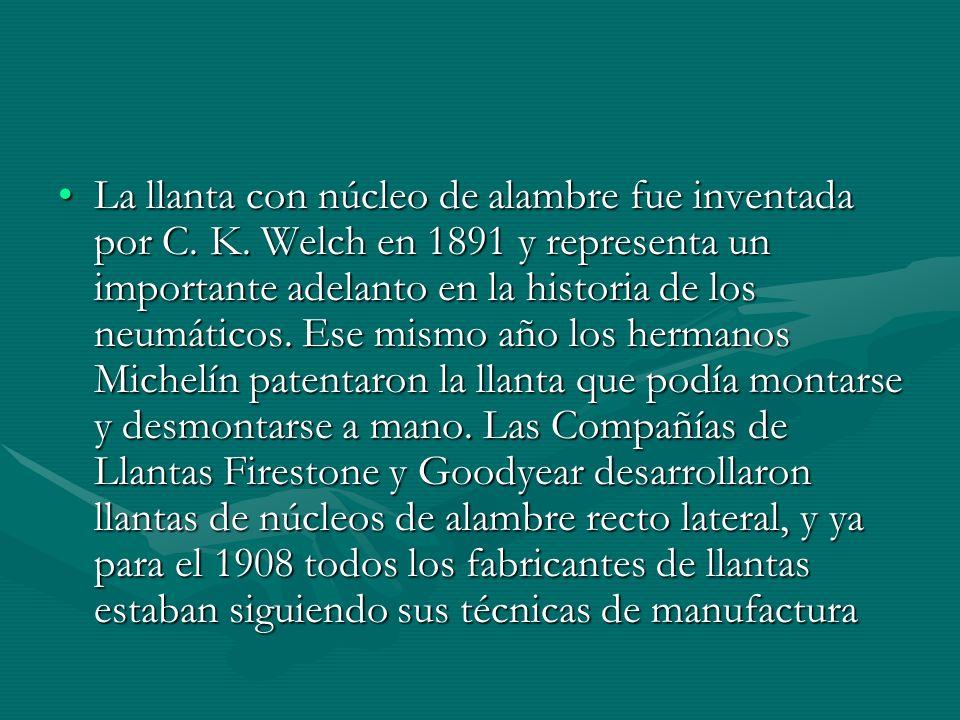 La llanta con núcleo de alambre fue inventada por C. K