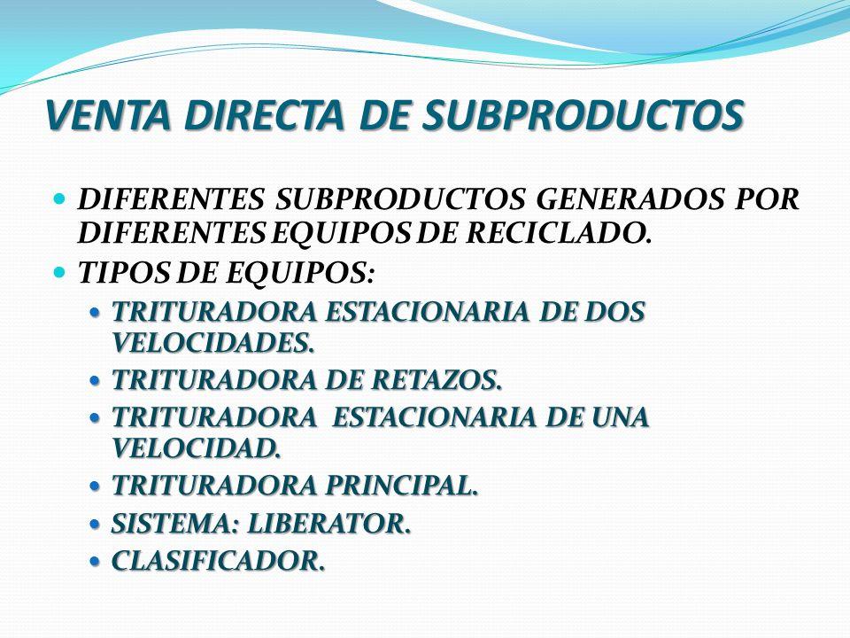 VENTA DIRECTA DE SUBPRODUCTOS