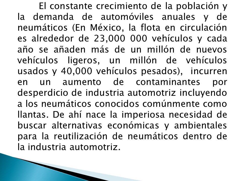 El constante crecimiento de la población y la demanda de automóviles anuales y de neumáticos (En México, la flota en circulación es alrededor de 23,000 000 vehículos y cada año se añaden más de un millón de nuevos vehículos ligeros, un millón de vehículos usados y 40,000 vehículos pesados), incurren en un aumento de contaminantes por desperdicio de industria automotriz incluyendo a los neumáticos conocidos comúnmente como llantas.