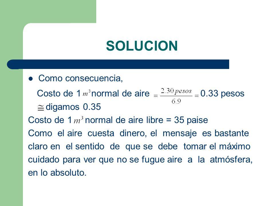 SOLUCION Costo de 1 normal de aire 0.33 pesos Como consecuencia,
