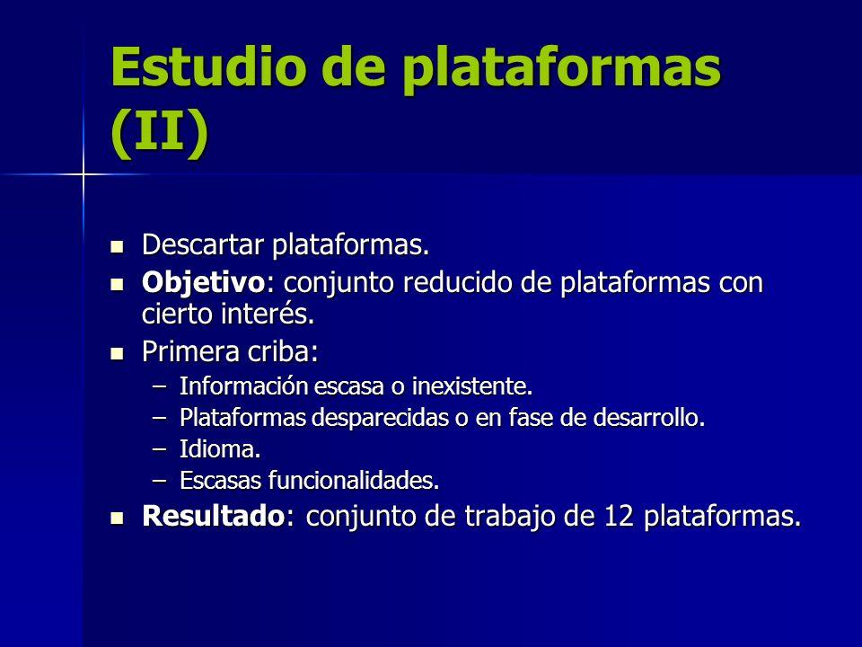 Estudio de plataformas (II)