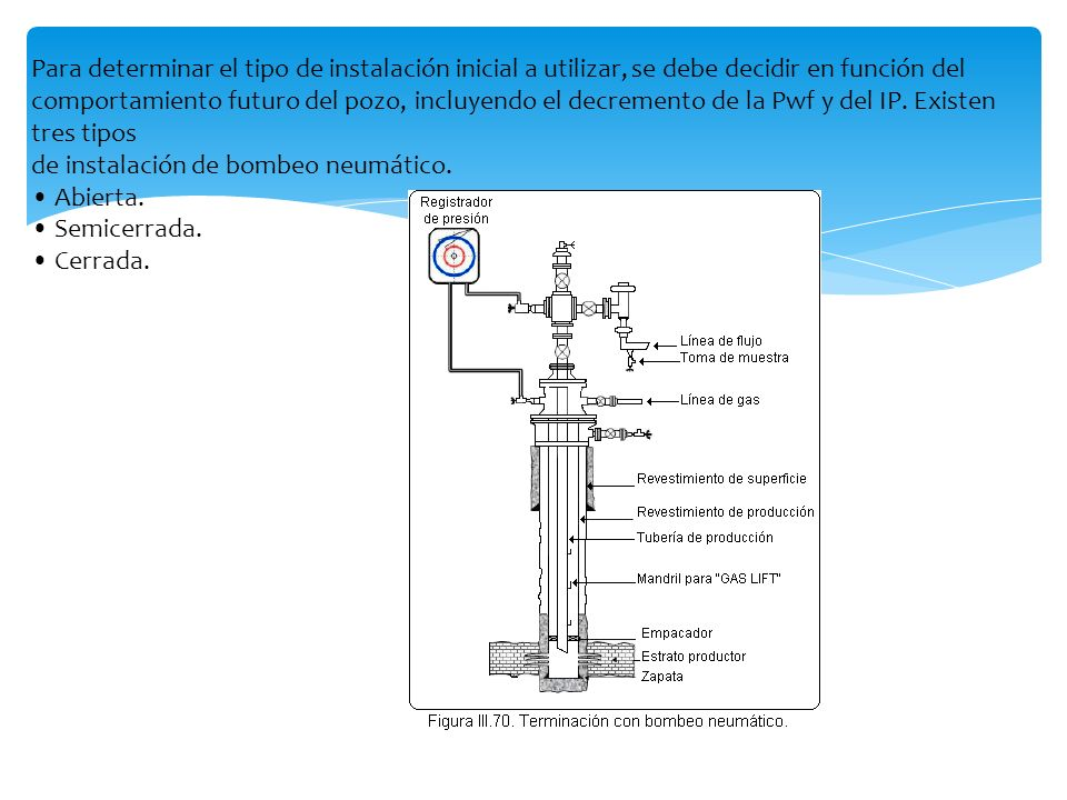 Para determinar el tipo de instalación inicial a utilizar, se debe decidir en función del