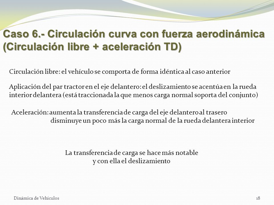 Caso 6.- Circulación curva con fuerza aerodinámica