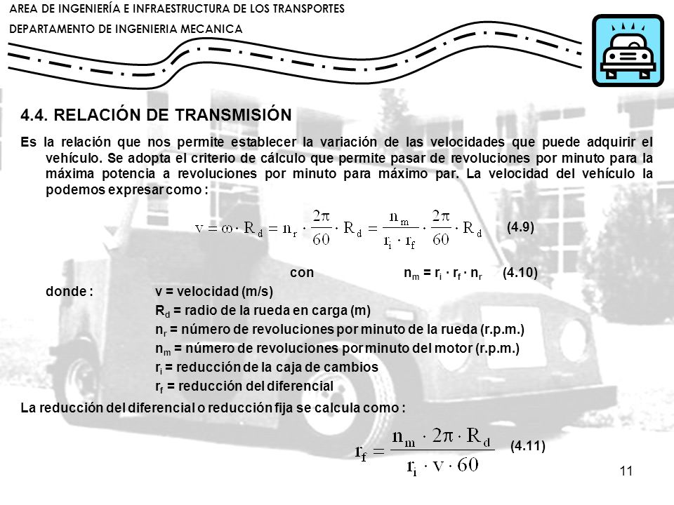 4.4. RELACIÓN DE TRANSMISIÓN