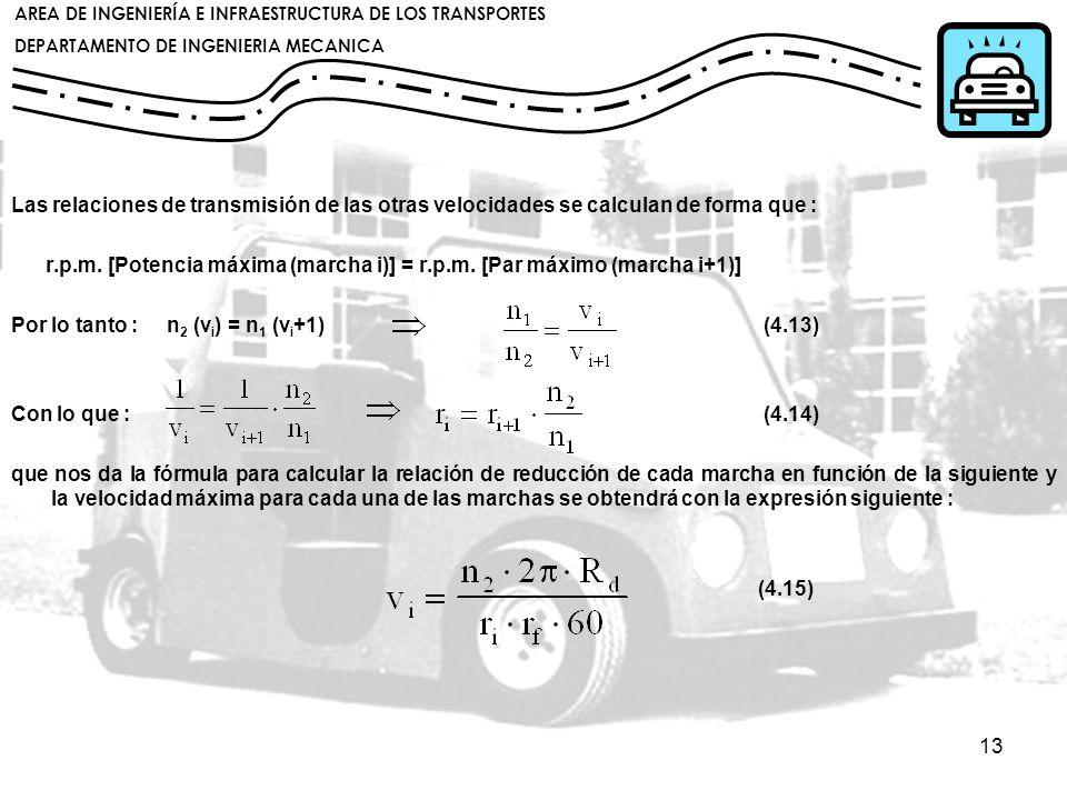 Las relaciones de transmisión de las otras velocidades se calculan de forma que :