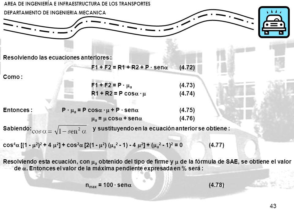 Resolviendo las ecuaciones anteriores :