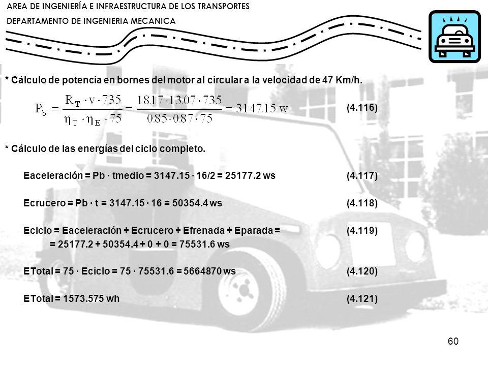 * Cálculo de potencia en bornes del motor al circular a la velocidad de 47 Km/h.