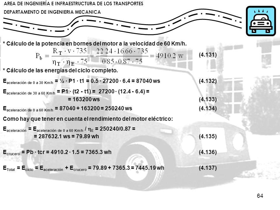 * Cálculo de la potencia en bornes del motor a la velocidad de 60 Km/h.