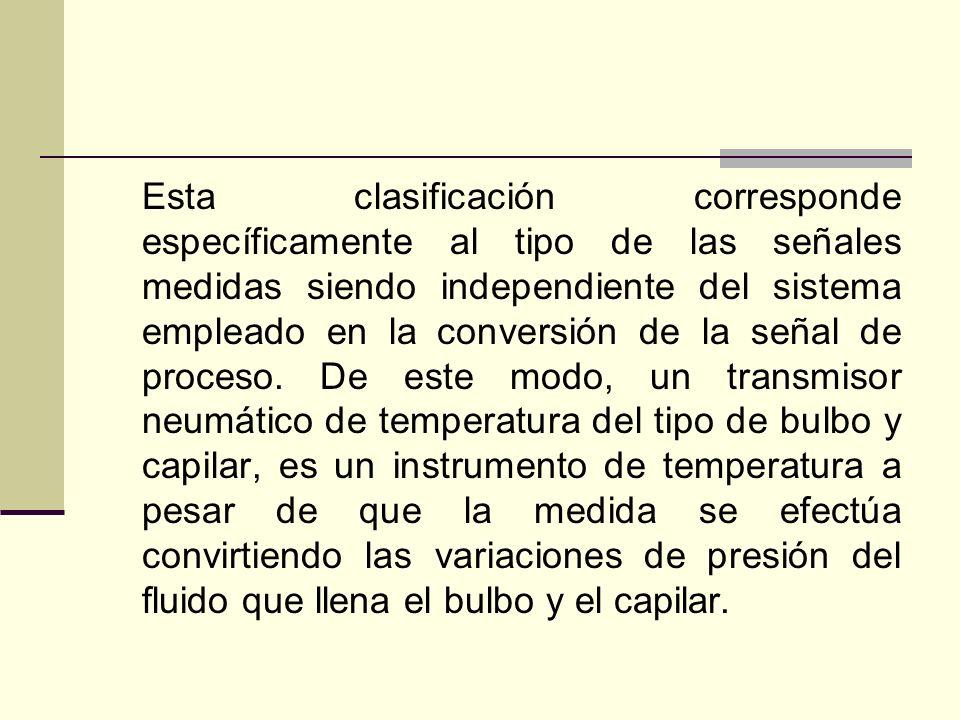 Esta clasificación corresponde específicamente al tipo de las señales medidas siendo independiente del sistema empleado en la conversión de la señal de proceso.