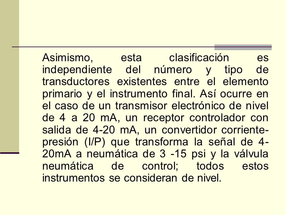 Asimismo, esta clasificación es independiente del número y tipo de transductores existentes entre el elemento primario y el instrumento final.