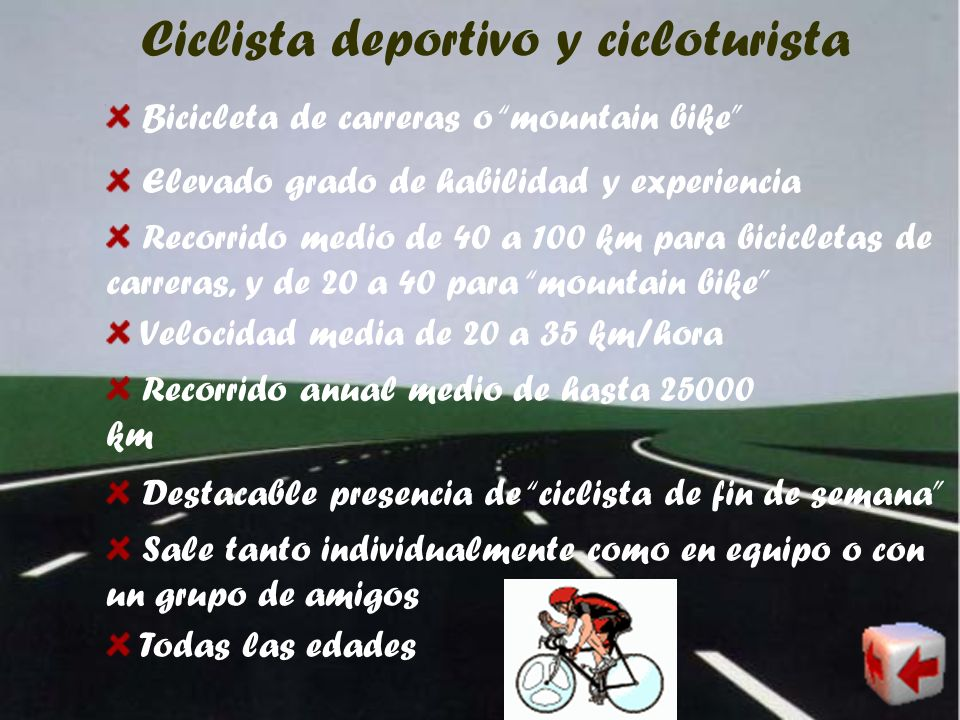 Ciclista deportivo y cicloturista