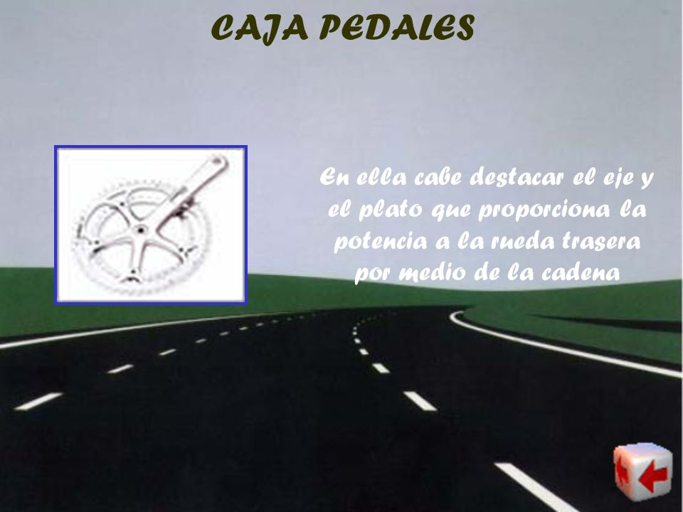 CAJA PEDALES En ella cabe destacar el eje y el plato que proporciona la potencia a la rueda trasera por medio de la cadena.