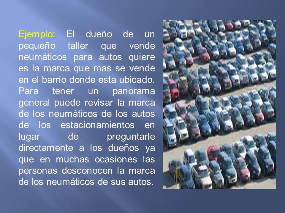 Ejemplo: El dueño de un pequeño taller que vende neumáticos para autos quiere es la marca que mas se vende en el barrio donde esta ubicado.