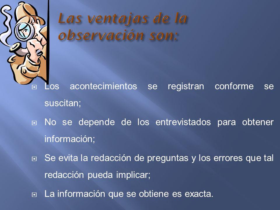 Las ventajas de la observación son: