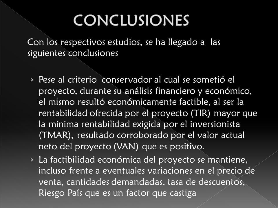CONCLUSIONES Con los respectivos estudios, se ha llegado a las siguientes conclusiones.