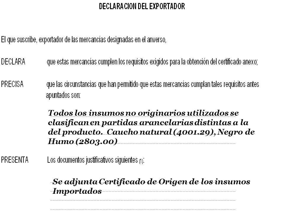 Todos los insumos no originarios utilizados se clasifican en partidas arancelarias distintas a la del producto. Caucho natural (4001.29), Negro de Humo (2803.00)