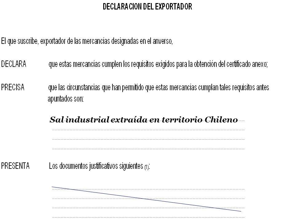 Sal industrial extraída en territorio Chileno