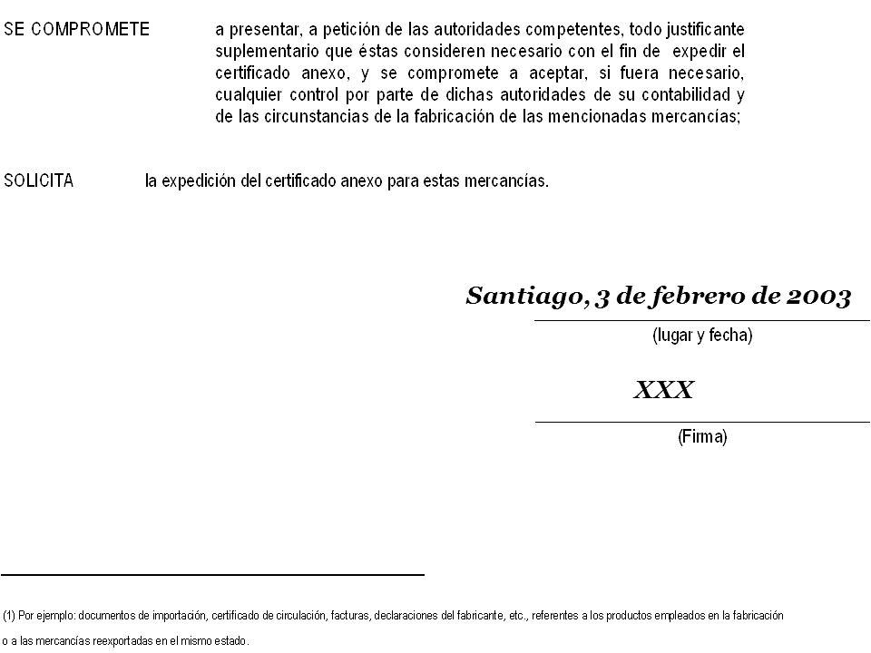 Santiago, 3 de febrero de 2003 XXX