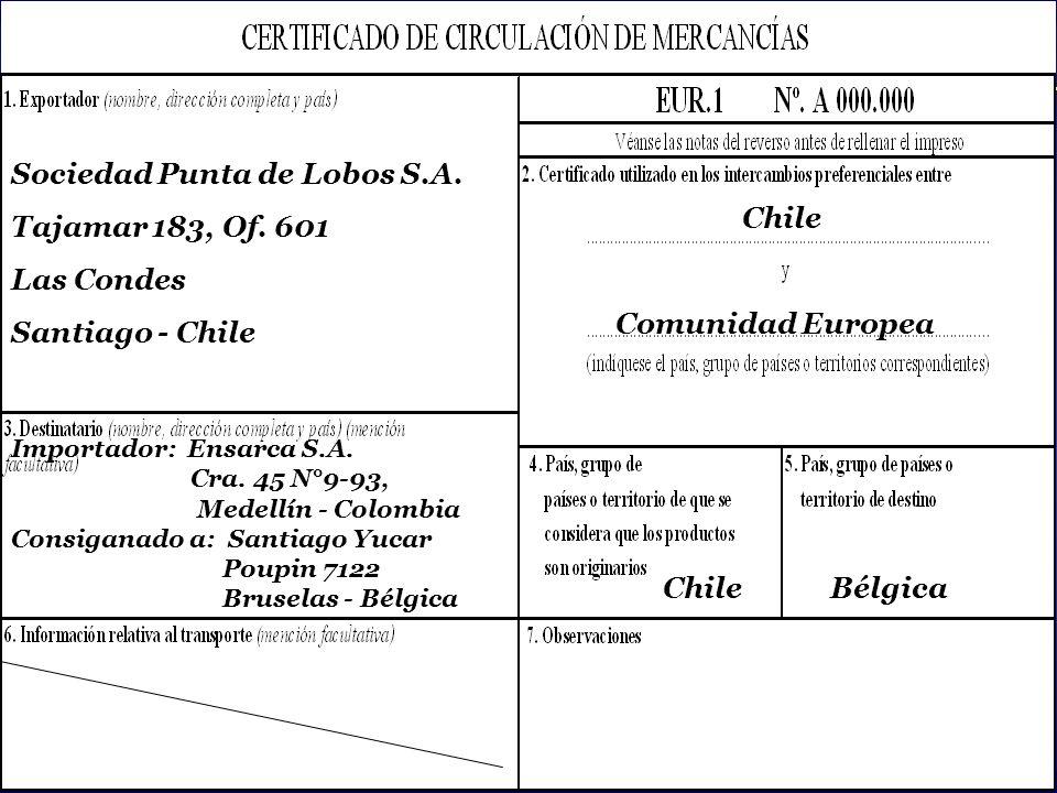Sociedad Punta de Lobos S.A. Tajamar 183, Of. 601 Las Condes
