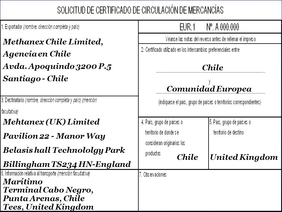 Methanex Chile Limited,