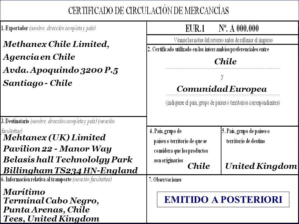 EMITIDO A POSTERIORI Methanex Chile Limited, Agencia en Chile