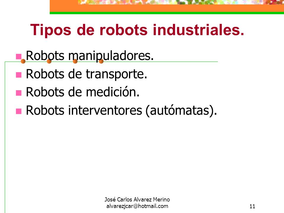 Tipos de robots industriales.