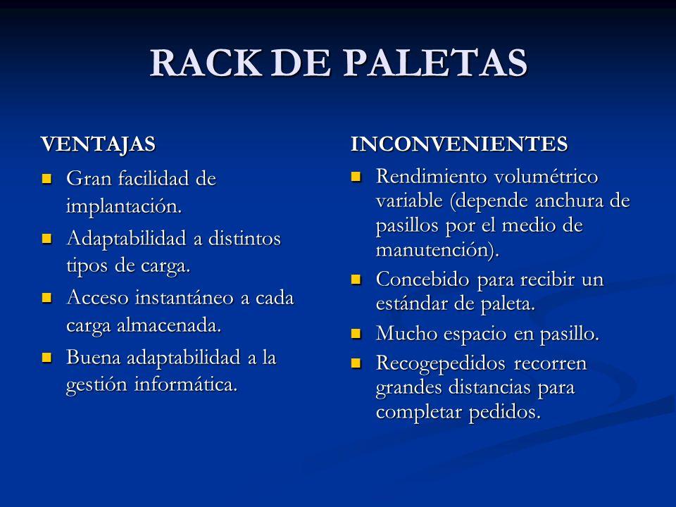 RACK DE PALETAS VENTAJAS INCONVENIENTES