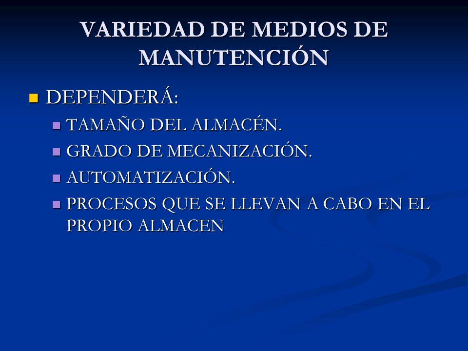 VARIEDAD DE MEDIOS DE MANUTENCIÓN