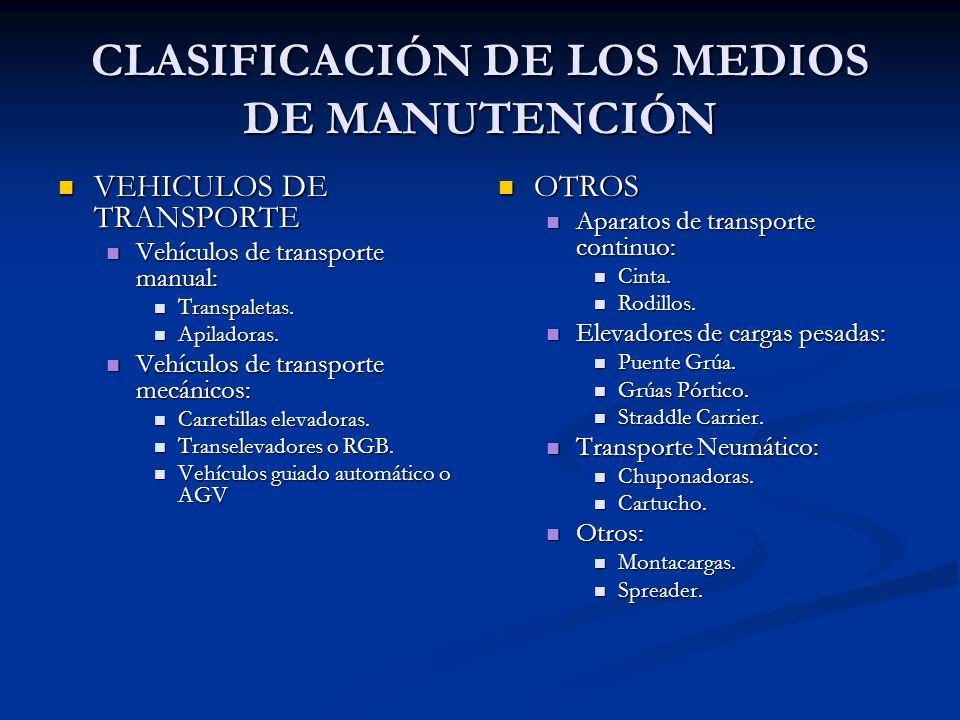 CLASIFICACIÓN DE LOS MEDIOS DE MANUTENCIÓN