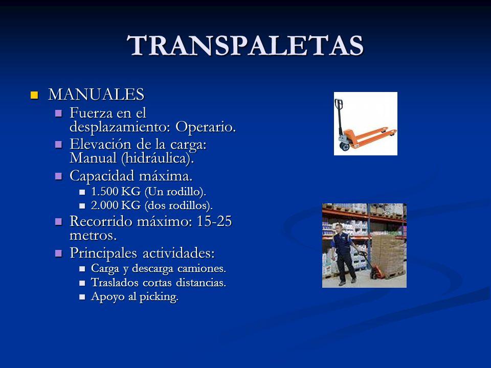 TRANSPALETAS MANUALES Fuerza en el desplazamiento: Operario.