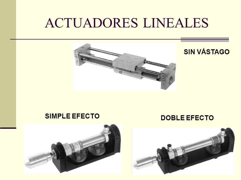 ACTUADORES LINEALES SIN VÁSTAGO SIMPLE EFECTO DOBLE EFECTO