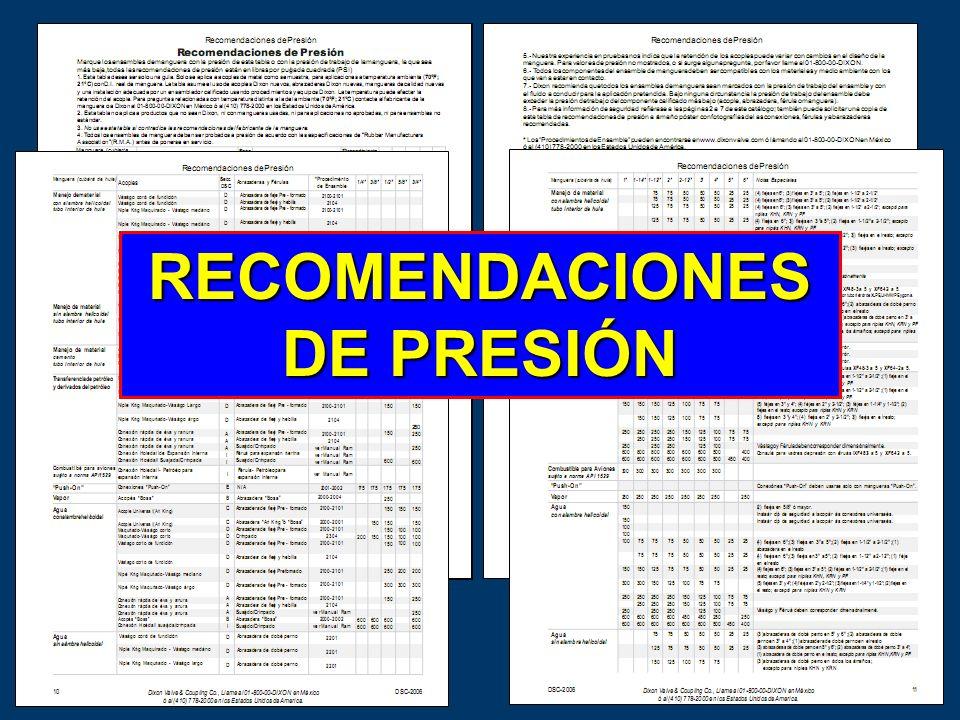 RECOMENDACIONES DE PRESIÓN