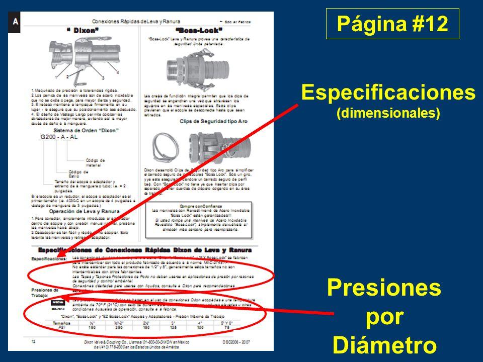 Especificaciones (dimensionales) Presiones por Diámetro