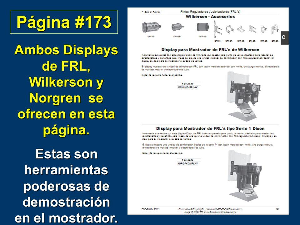 Página #173 Ambos Displays de FRL, Wilkerson y Norgren se ofrecen en esta página.
