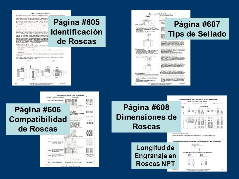 Página #605 Identificación de Roscas Página #607 Tips de Sellado