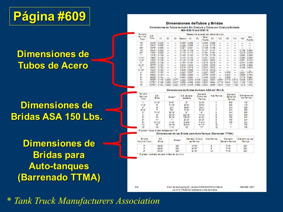 Página #609 Dimensiones de Tubos de Acero