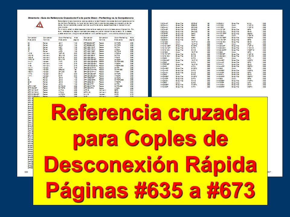Referencia cruzada para Coples de Desconexión Rápida Páginas #635 a #673