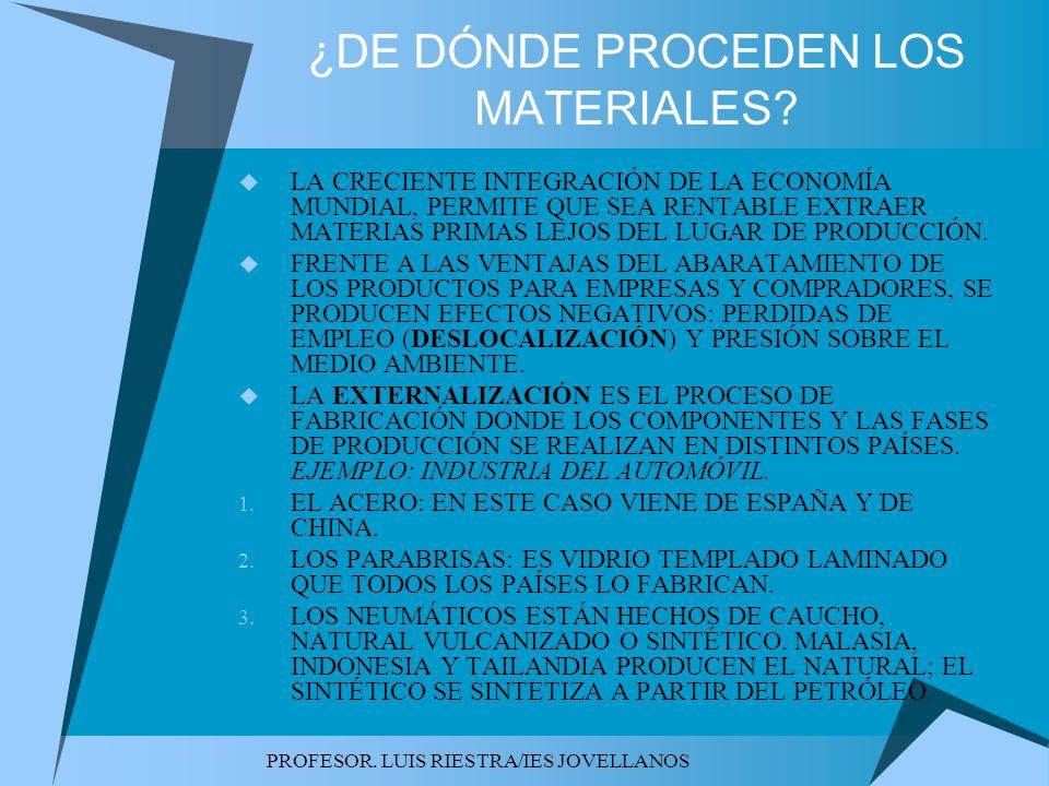 ¿DE DÓNDE PROCEDEN LOS MATERIALES
