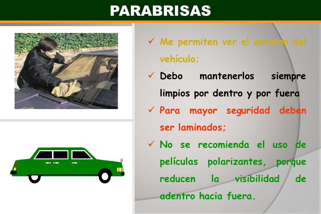 PARABRISAS Me permiten ver el entorno del vehículo;