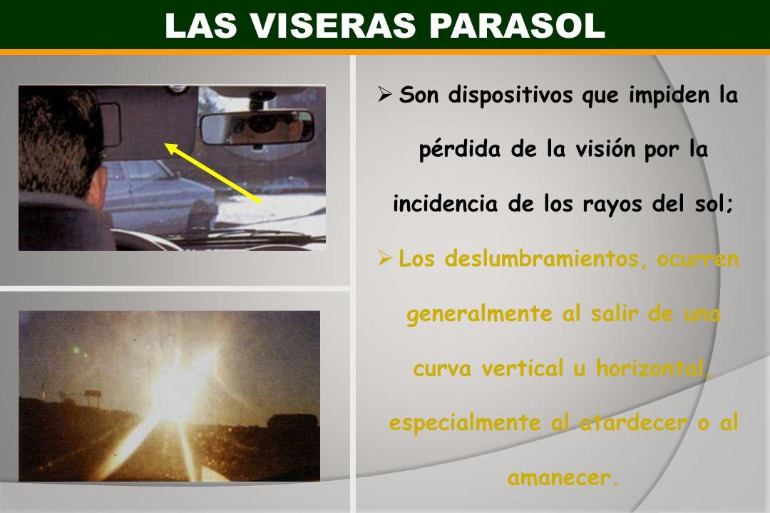LAS VISERAS PARASOL Son dispositivos que impiden la pérdida de la visión por la incidencia de los rayos del sol;